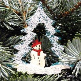 Vianočná ozdoba - snehuliak a stromček 8cm, 1ks