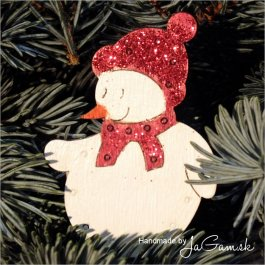 Vianočná ozdoba - snehuliak červený 8cm, 1ks