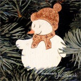 Vianočná ozdoba - snehuliak oranžový 8cm, 1ks