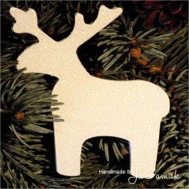 Vianočná ozdoba - zasnežený sobík 8cm, 1ks