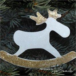 Vianočná ozdoba - sobík zlatý 8cm, 1ks