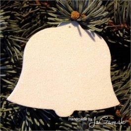 Vianočná ozdoba - zasnežený zvonček 8cm, 1ks