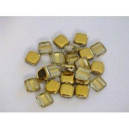 Štvorčeky 2-dierkové 6x6mm, 20 ks zlatá (003/06)