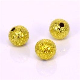 Kovové korálky - guličky 6mm, zlaté cca 100ks (06)