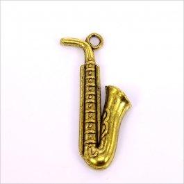 Kovový prívesok Saxofón 13x26mm,1ks, starozlato (B33/4002)