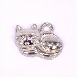 Kovový prívesok Mačka 13x14x2,5mm, platina, 3ks (B01/14029)