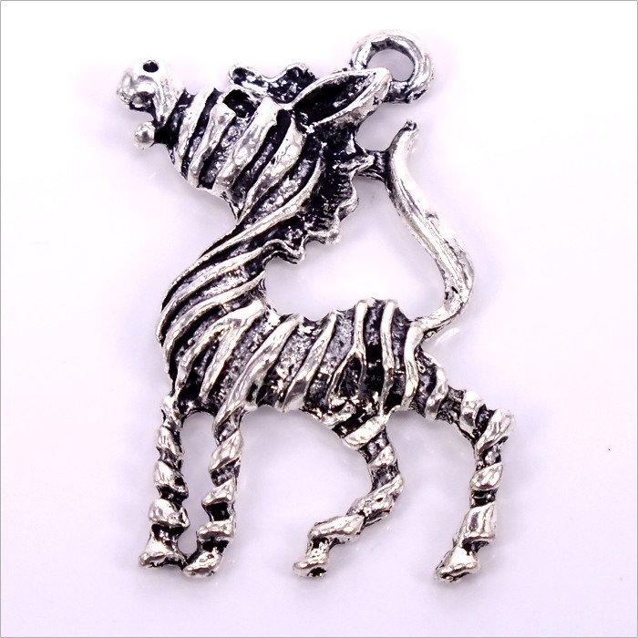 Kovový prívesok Zebra 38x25x2mm,1ks, starostriebro (B25/3653)