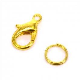 Karabinka s protikrúžkom 12mm zlatá 10 pár (170)