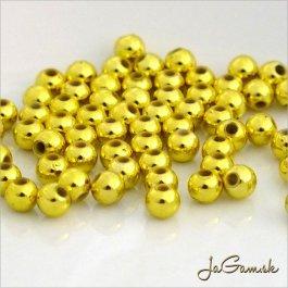 Plastové korálky 4 mm, zlaté, cca 70 ks (916)