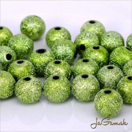 Akrylové korálky 8 mm, zelené, 15 ks (921)