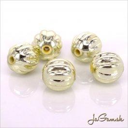 Plastové korálky 11 mm zlaté, 10 ks (948)