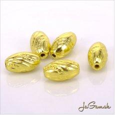 Plastové korálky 13x7mm zlaté, 10 ks (943)