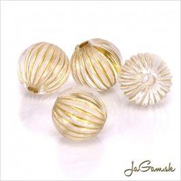 Akrylové korálky 10mm priehľadná/zlatá, 10ks (961)