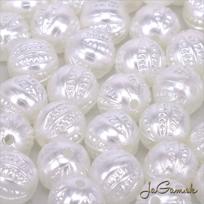 Akrylové korálky 9,5mm biela, 10ks (966)