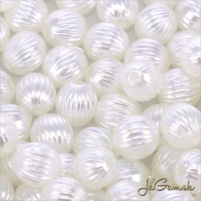 Akrylové korálky 6mm biela, cca 50ks (967)