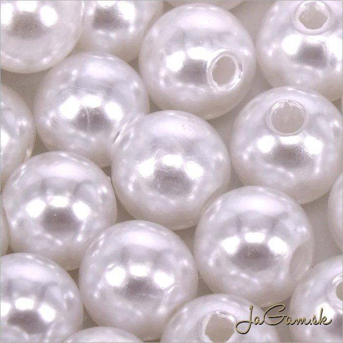 Akrylové korálky 10mm biela, 20ks (968)