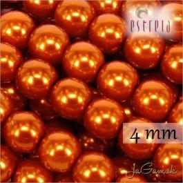 Voskované perly - ESTRELA - oranžová 12879, veľkosť 4 mm, 30 ks (č.6)