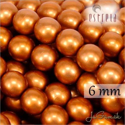 Voskované perly - ESTRELA - oranžová matná 47878, veľkosť 6 mm, 20 ks (č.7)