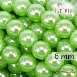 Voskované perly - ESTRELA - zelená 13548, veľkosť 6 mm, 20 ks (č.16)