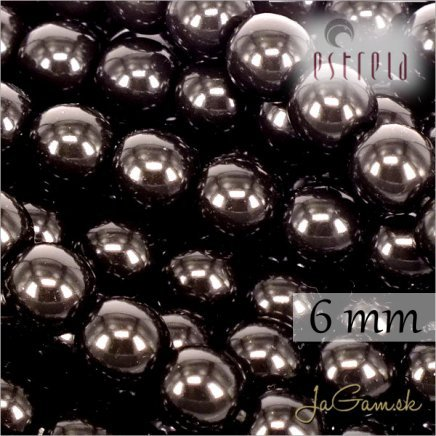 Voskované perly - ESTRELA - čierna 12495, veľkosť 6 mm, 20 ks (č.21)