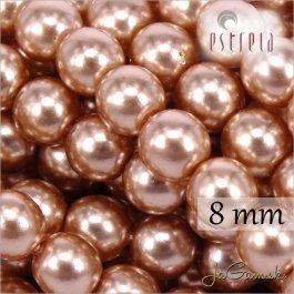 Voskované perly - ESTRELA - ružová svetlá 12175, veľkosť 8 mm, 15 ks (č.3)