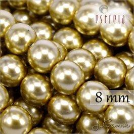 Voskované perly - ESTRELA - zlatá 47834, veľkosť 8 mm, 15 ks (č.5)