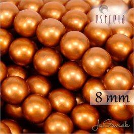 Voskované perly - ESTRELA - oranžová matná 47878, veľkosť 8 mm, 15 ks (č.7)