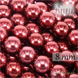 Voskované perly - ESTRELA - červená vínová 12997, veľkosť 8 mm, 15 ks (č.10)