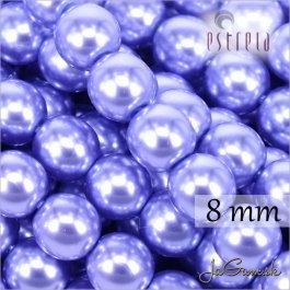 Voskované perly - ESTRELA - fialová svetlá112235, veľkosť 8 mm, 15 ks (č.12)
