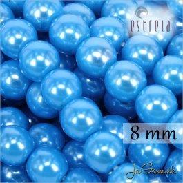 Voskované perly - ESTRELA - modrá azurová 13378, veľkosť 8 mm, 15 ks (č.15)