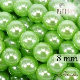 Voskované perly - ESTRELA - zelená 13548, veľkosť 8 mm, 15 ks (č.16)