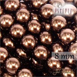 Voskované perly - ESTRELA - hnedá 12197, veľkosť 8 mm, 15 ks (č.19)
