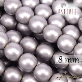 Voskované perly - ESTRELA - šedá matná 47715, veľkosť 8 mm, 15 ks (č.22)