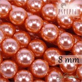 Voskované perly - ESTRELA - lososová 12885, veľkosť 8 mm, 15 ks (č.23)