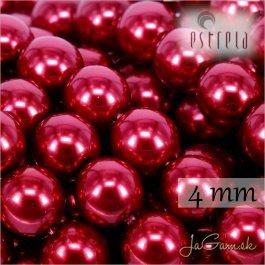 Voskované perly - ESTRELA - červená malinová 12995, veľkosť 4 mm, 120 ks (č.8)