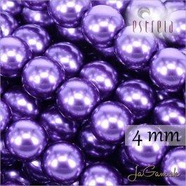 Voskované perly - ESTRELA - fialová 12297, veľkosť 4 mm, 120ks (č.11)