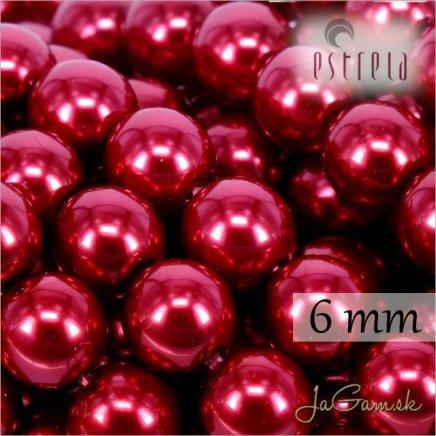 Voskované perly - ESTRELA - červená malinová 12995, veľkosť 6 mm, 80 ks (č.8)