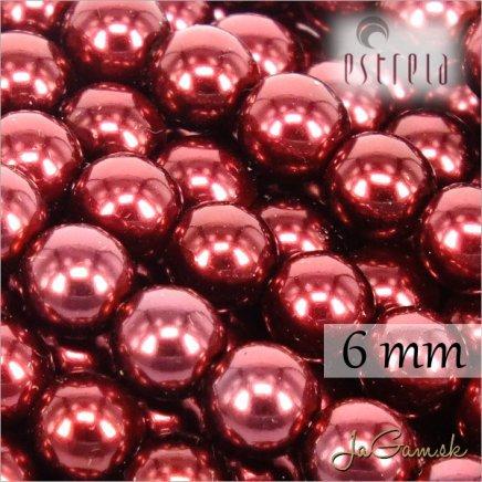 Voskované perly - ESTRELA - červená vínová 12997, veľkosť 6 mm, 80 ks (č.10)