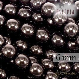 Voskované perly - ESTRELA - čierna 12495, veľkosť 6 mm, 80 ks (č.21)