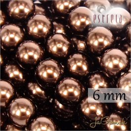 Voskované perly - ESTRELA - hnedá 12197, veľkosť 6 mm, 80 ks (č.19)