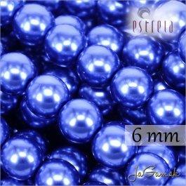 Voskované perly - ESTRELA - modrá 12395, veľkosť 6 mm, 80 ks (č.14)