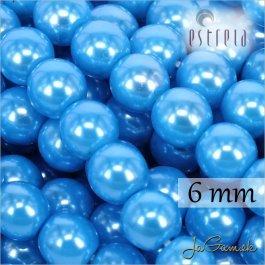 Voskované perly - ESTRELA - modrá azurová  13378, veľkosť 6 mm, 80 ks (č.15)