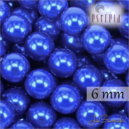 Voskované perly - ESTRELA - modrá tmavá 13349, veľkosť 6 mm, 80 ks (č.13)