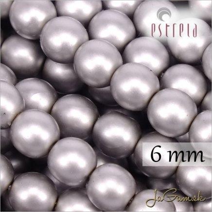 Voskované perly - ESTRELA - šedá matná 47715, veľkosť 6 mm, 80 ks (č.22)