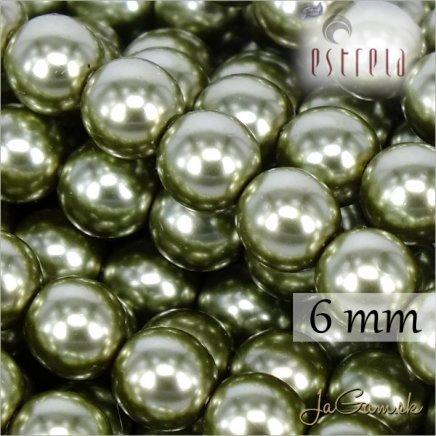 Voskované perly - ESTRELA - zelená 12565, veľkosť 6 mm, 80 ks (č.17)
