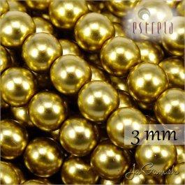 Voskované perly - ESTRELA - zlatá 47835, veľkosť 3 mm, 40 ks (č.29)