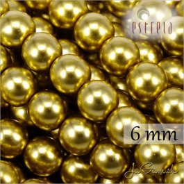Voskované perly - ESTRELA - zlatá 47835, veľkosť 6 mm, 20 ks (č.29)
