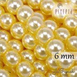 Voskované perly - ESTRELA - žltá sv. 12835, veľkosť 6 mm, 20 ks (č.24)