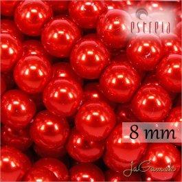 Voskované perly - ESTRELA - červená 12985, veľkosť 8 mm, 15 ks (č.26)