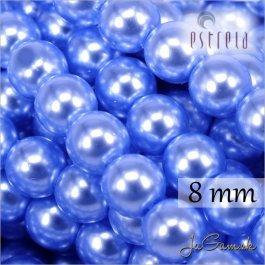 Voskované perly - ESTRELA - modrá sv. 12337, veľkosť 8 mm, 15 ks (č.27)